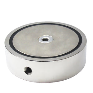 "3,600 LBS (combined) pulling force Double Sided Round Neodymium Magnet with Eyebolt, 5.31"" Diameter"