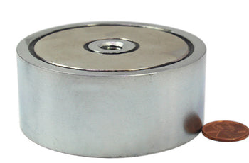 "Load image into Gallery viewer, 800 LBS (combined) pulling force Double Sided Round Neodymium Magnet with Eyebolt, 2.95"" Diameter"