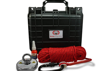 "Load image into Gallery viewer, Brute Box 880 lb Magnet Fishing Bundle (3.54"" Magnet + Rope + Carabiner + Threadlocker)"