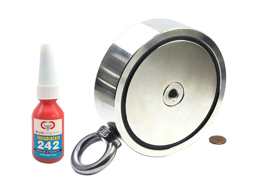 3,600 LBS (combined) pulling force Double Sided Round Neodymium Magnet with Eyebolt, 5.31