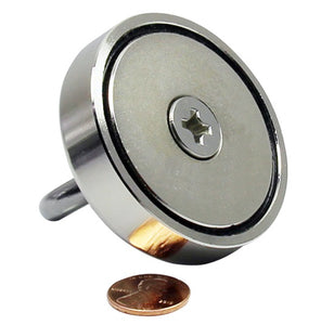 "Round Neodymium Magnet with Countersunk Hole, 300 LBS Pulling Force, 2.36"" Diameter - 1 count"