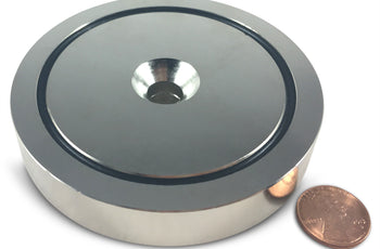 "Load image into Gallery viewer, 880 LBS Pulling Force, 3.54"" Diameter - Round Neodymium Magnet with Countersunk Hole and Eyebolt"