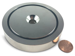 "500 LBS Pulling Force, 3.54"" Diameter - Round Neodymium Magnet with Countersunk Hole and Eyebolt"
