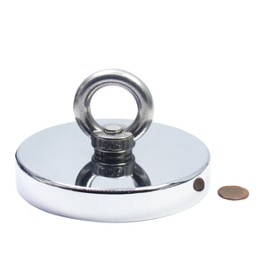 "1,200 LB Pull Round Neodymium Magnet with Countersunk Hole and Eyebolt, 4.72"" Diameter"
