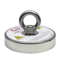 "1,500 LB Pull Round Neodymium Magnet with Countersunk Hole and Eyebolt, 4.72"" Diameter"