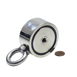 "550 LBS (combined) pulling force Double Sided Round Neodymium Magnet with Eyebolt, 2.64"" Diameter"