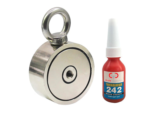 800 LBS (combined) pulling force Double Sided Round Neodymium Magnet with Eyebolt, 2.95