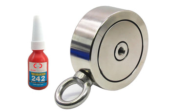 "Load image into Gallery viewer, 1,200 LBS (combined) pulling force Double Sided Round Neodymium Magnet with Eyebolt, 3.70"" Diameter"
