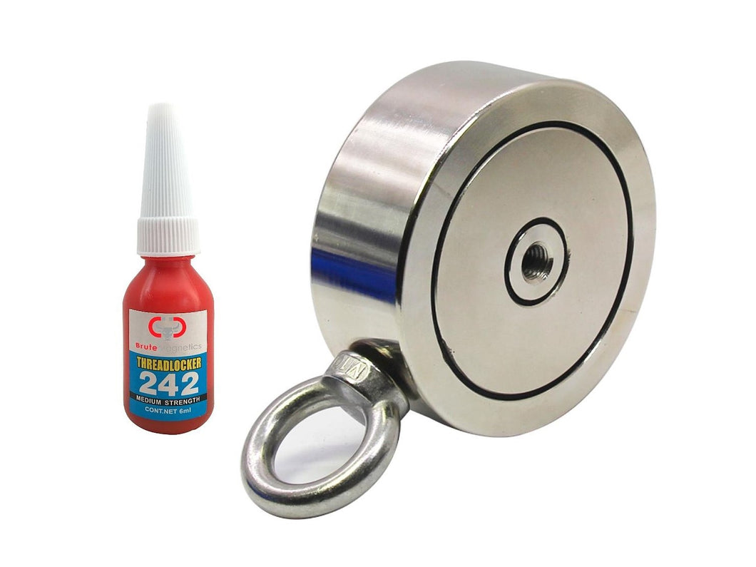 1,200 LBS (combined) pulling force Double Sided Round Neodymium Magnet with Eyebolt, 3.70