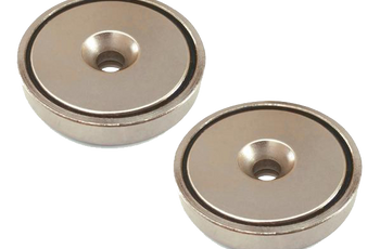 "Load image into Gallery viewer, Round Neodymium Magnet with Countersunk Hole, 80 LBS Pulling Force, 1.65"" Diameter (2-Pack)"