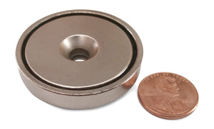 "Round Neodymium Magnet with Countersunk Hole, 80 LBS Pulling Force, 1.65"" Diameter (2-Pack)"