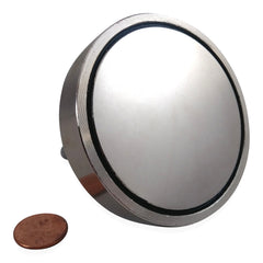 "400 LBS Pulling Force, Brute Magnetics Round Neodymium Magnet with Eyebolt, 2.95"" Diameter - Magnet Fishing"