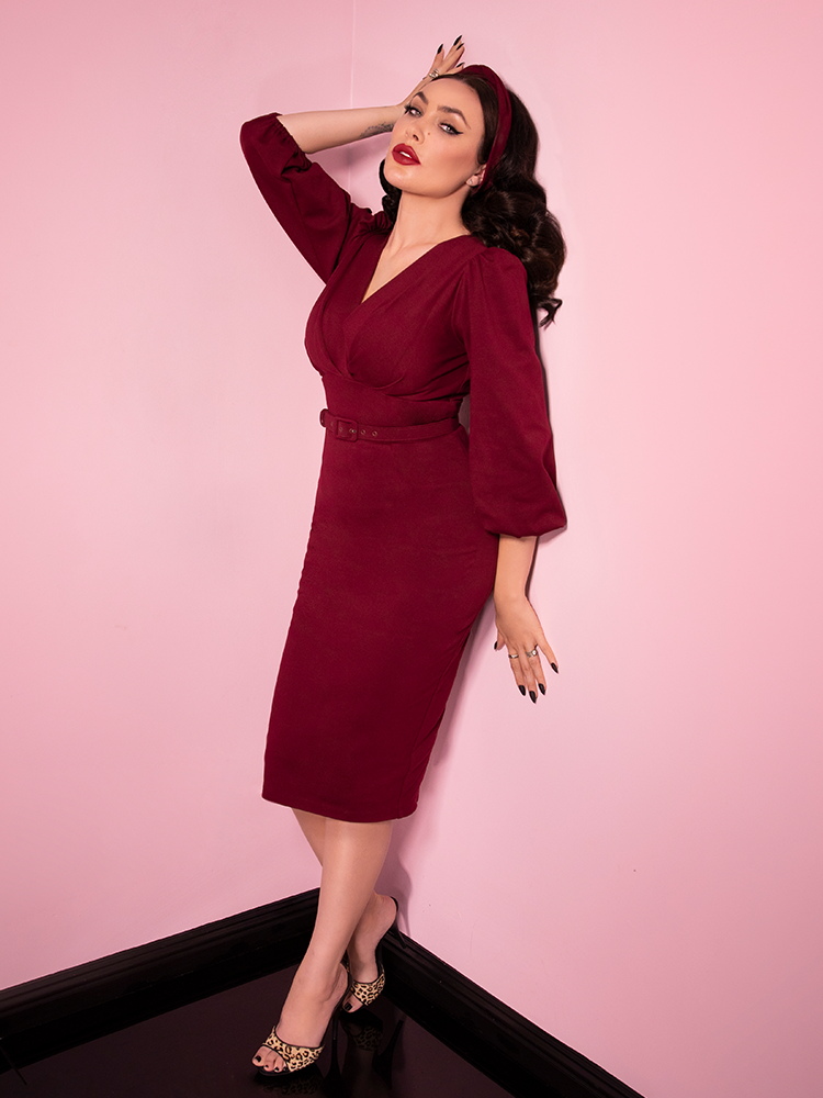 PRE ORDER - Bawdy Wiggle Dress in Burgundy - Vixen by Micheline Pitt