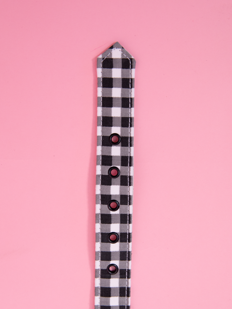 Belt 1 inch Black Gingham Sateen - Vixen by Micheline Pitt
