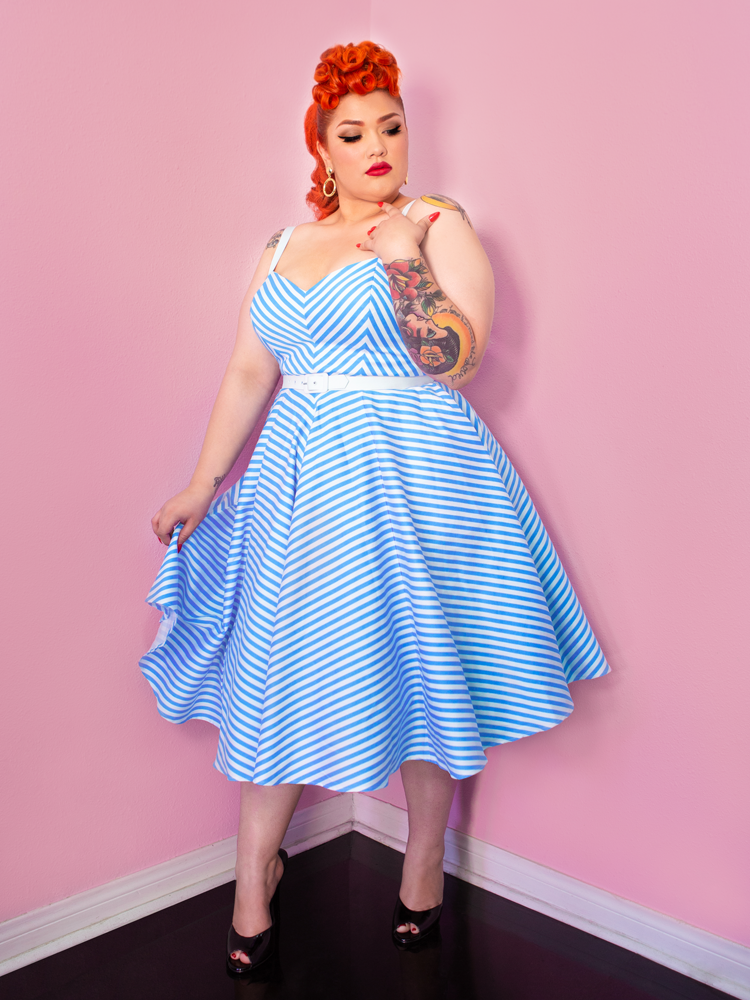 Dollface Dress in Blue and White - Vixen by Micheline Pitt