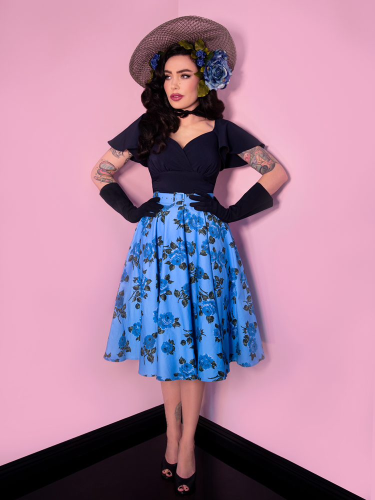 FINAL SALE - Circle Skirt in Vintage Blue Roses  - Vixen by Micheline Pitt