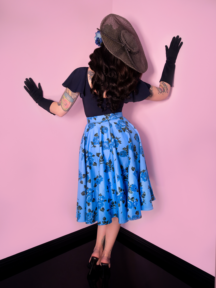 Circle Skirt in Vintage Blue Roses  - Vixen by Micheline Pitt