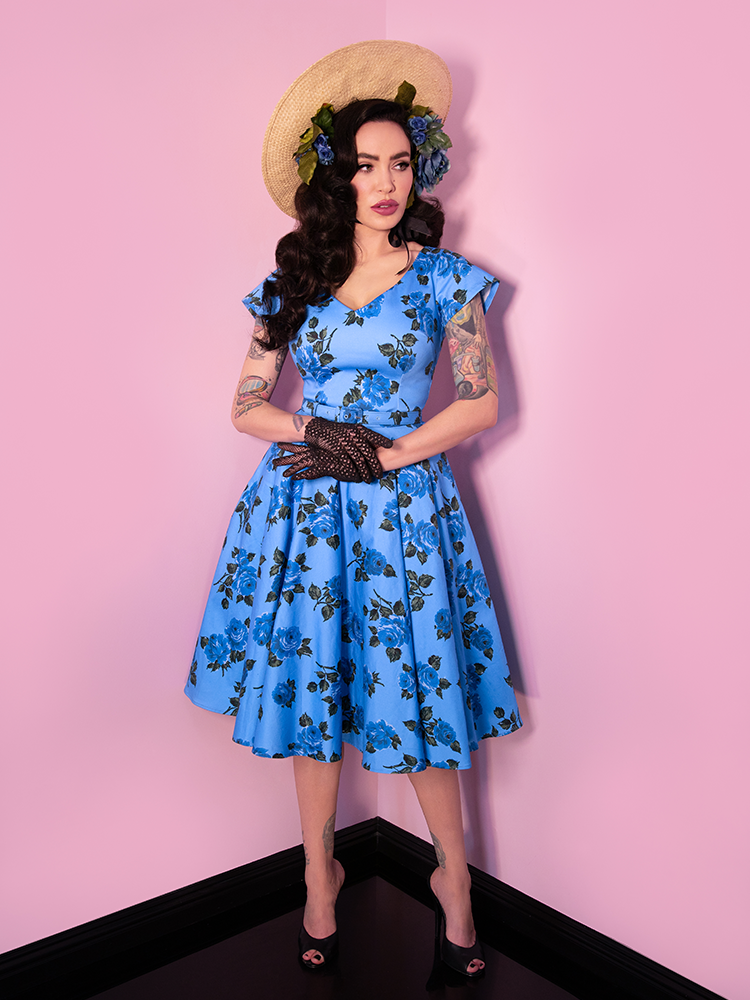 Micheline Pitt wearing the latest Vanity Fair Dress in Blue Vintage Roses print from Vixen Clothing.
