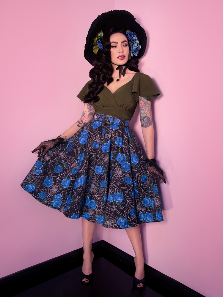 Circle Skirt in Blue Spider Web - Vixen by Micheline Pitt