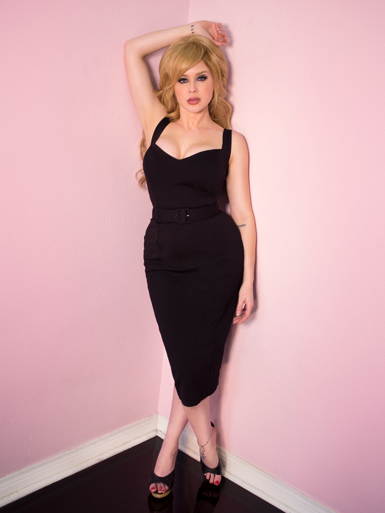 Bombshell Wiggle Dress in Black - Vixen by Micheline Pitt