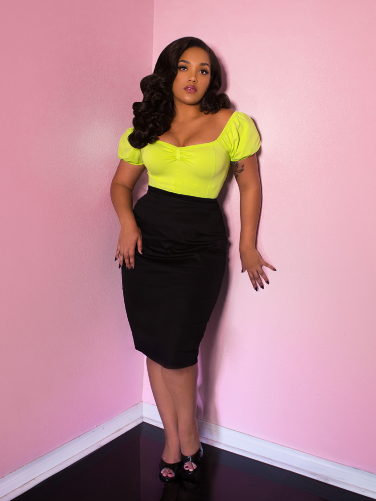 Powder Puff Top in Chartreuse - Vixen by Micheline Pitt