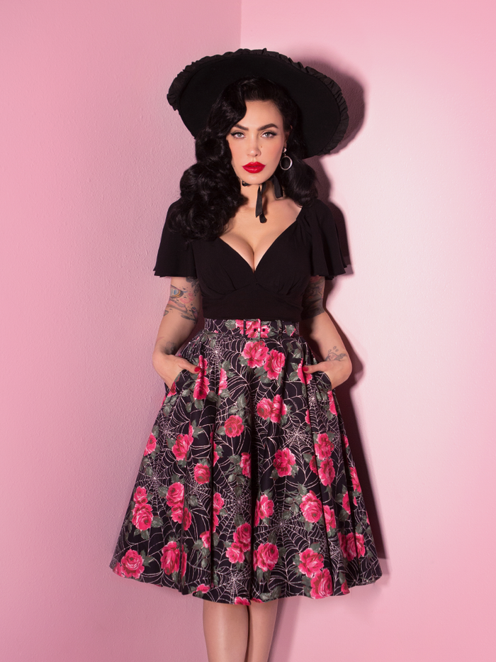 FINAL SALE - Circle Skirt in Pink Spider Web - Vixen by Micheline Pitt