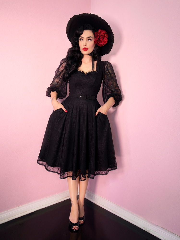 Decadence Swing Dress in Black - Vixen by Micheline Pitt