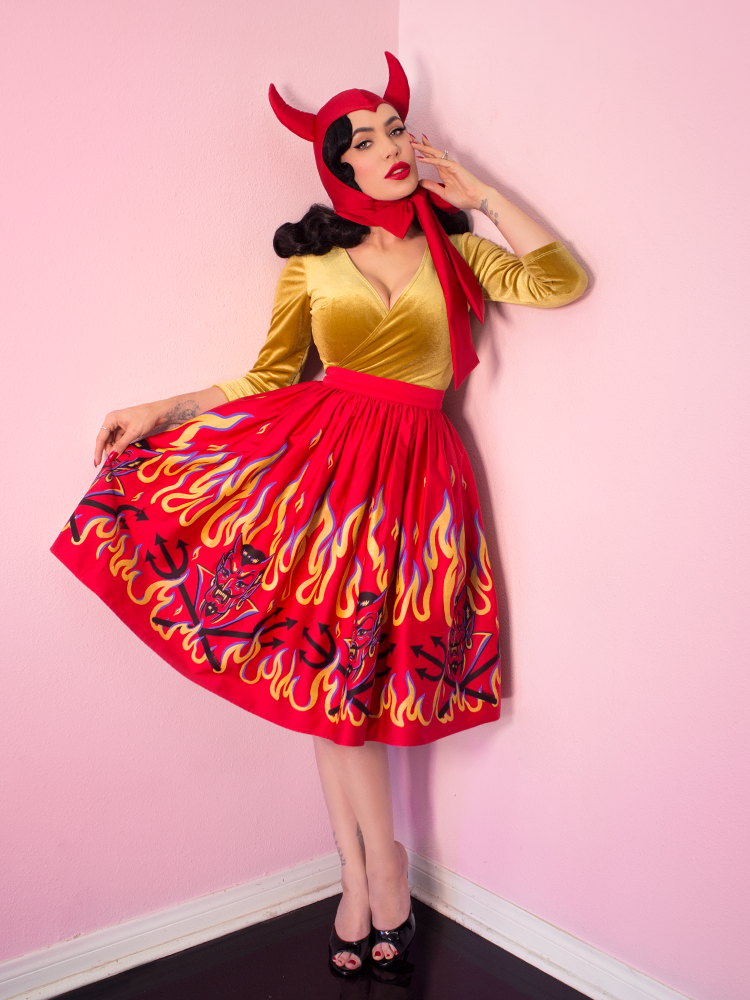FINAL SALE - Ben Cooper Vixen Swing Skirt in Devil Print - Vixen by Micheline Pitt