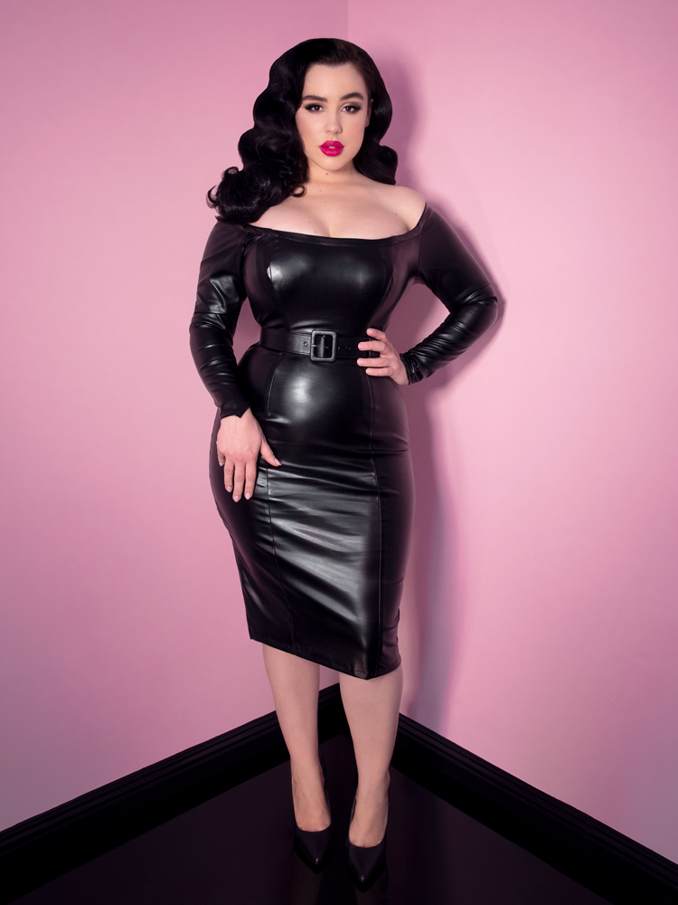 Domination Dress in Faux Stretch Leather - Vixen by Micheline Pitt