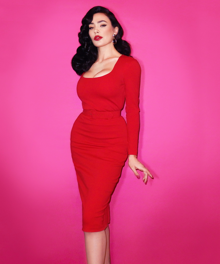PRE-ORDER - Troublemaker Wiggle Dress in Ravishing Red- Vixen by Micheline Pitt