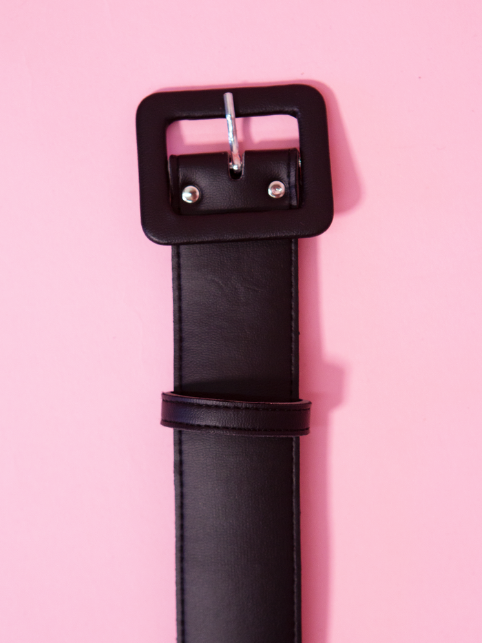 "1.5"" Belt in Black Vegan Leather - Vixen by Micheline Pitt"