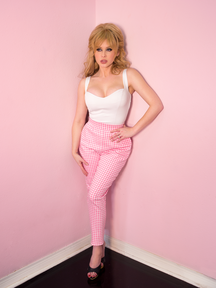 Cigarette Pants in Pink Gingham - Vixen by Micheline Pitt