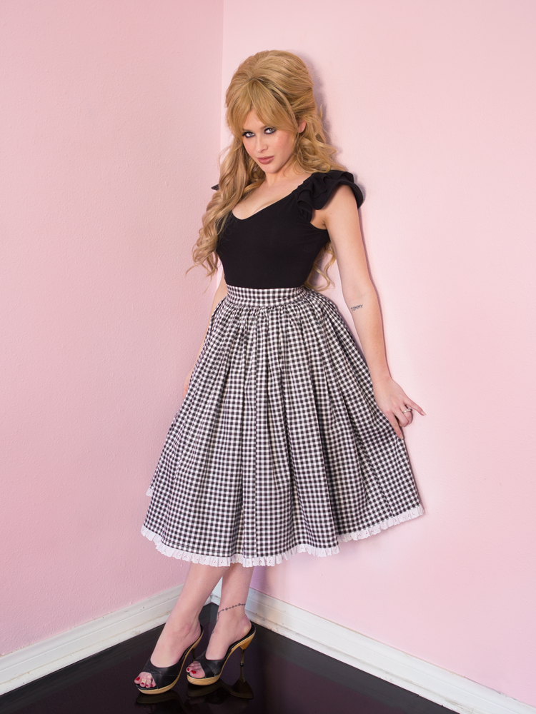 Vixen Swing Skirt in Black Gingham - Vixen by Micheline Pitt