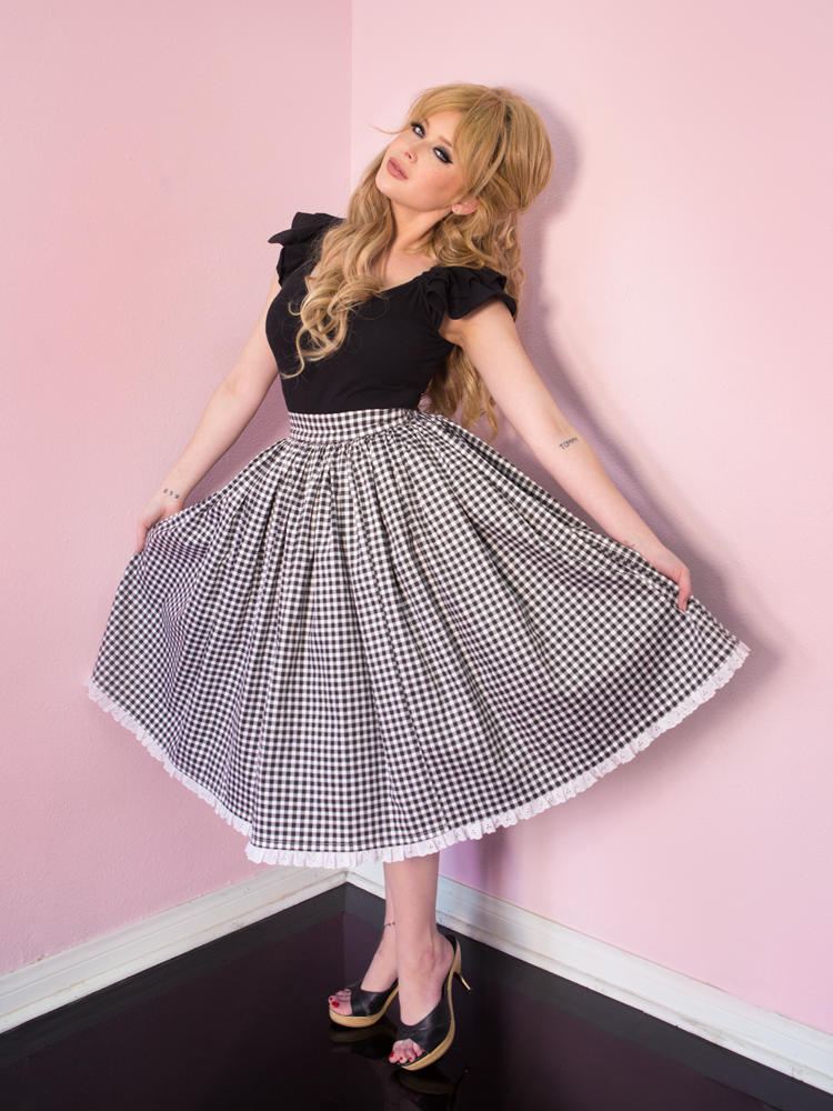 FINAL SALE - Vixen Swing Skirt in Black Gingham - Vixen by Micheline Pitt
