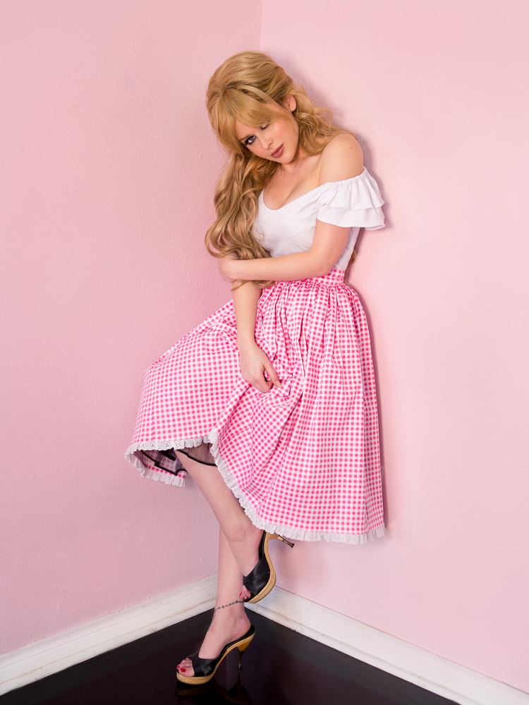 FINAL SALE - Vixen Swing Skirt in Pink Gingham - Vixen by Micheline Pitt