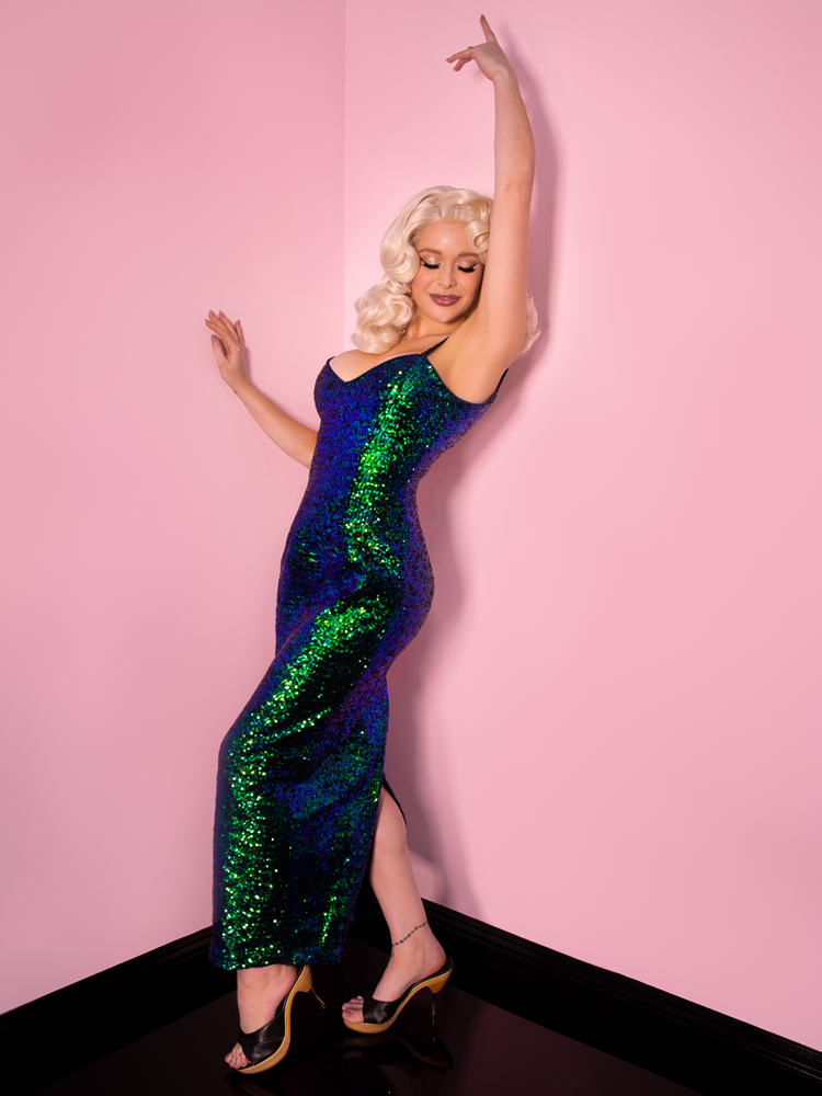Glitz & Glamour Dress in Green Sequins - Vixen by Micheline Pitt
