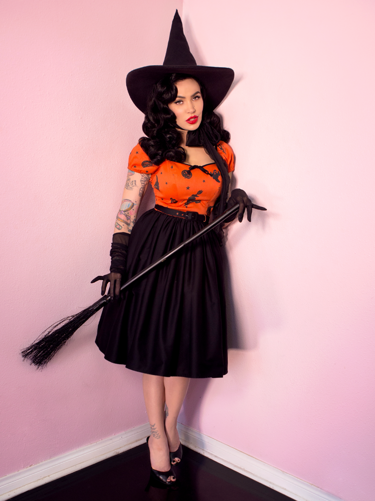 FINAL SALE - Ben Cooper Haunted Honey Dress in Vintage Halloween Print - Vixen by Micheline Pitt