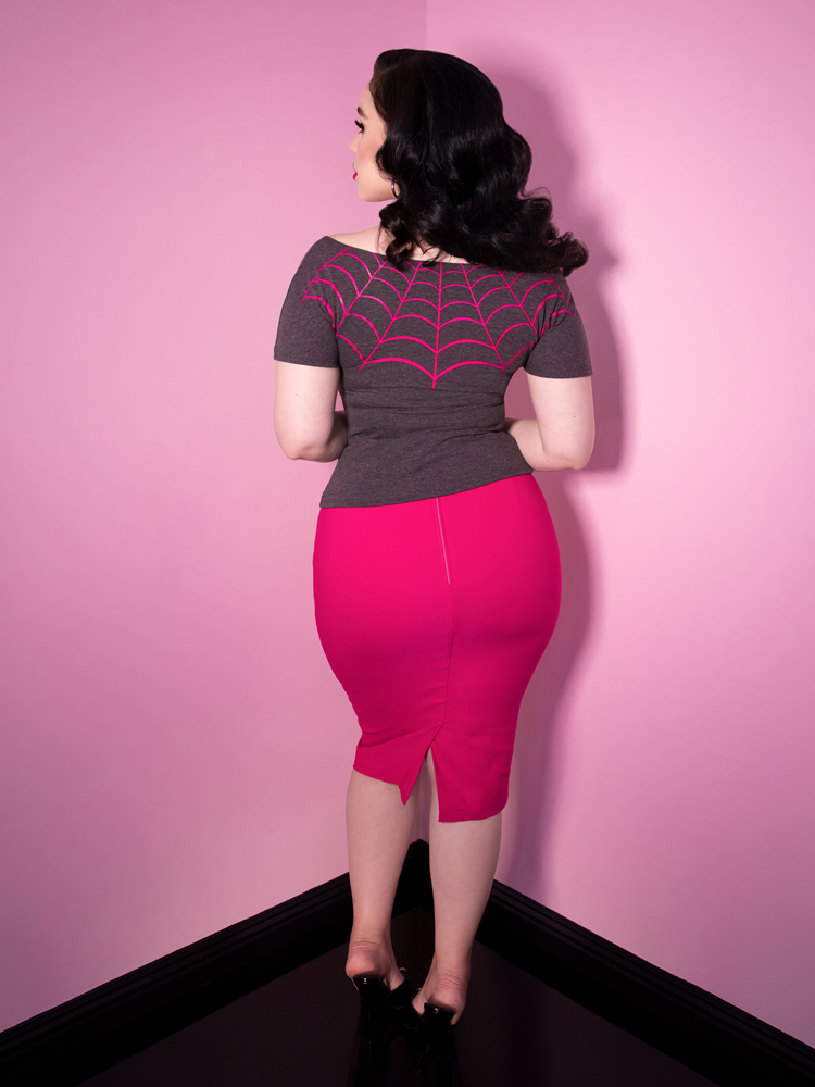 Vixen Pencil Skirt in Hot Pink - Vixen by Micheline Pitt