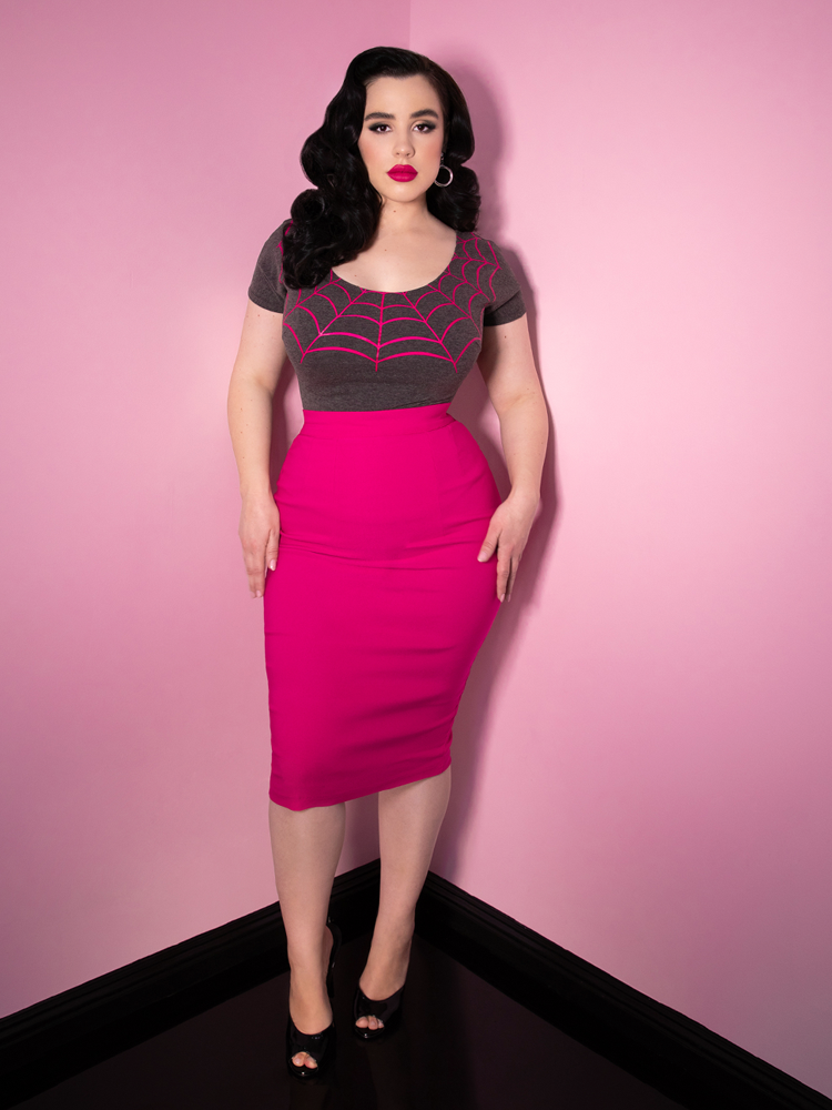 Vixen Pencil Skirt in Hot Pink Bengaline - Vixen by Micheline Pitt