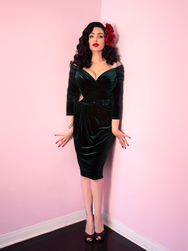 Starlet Wiggle Dress in Hunter Green Velvet - Vixen by Micheline Pitt