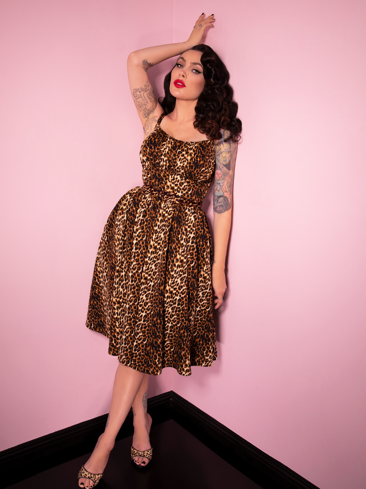 Full length photo of Micheline Pitt in the Ingenue Dress in Vintage Leopard Print from Vixen Clothing.