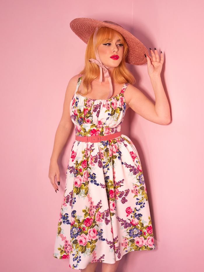PRE-ORDER - Ingenue Dress in White Vintage Floral Print - Vixen by Micheline Pitt