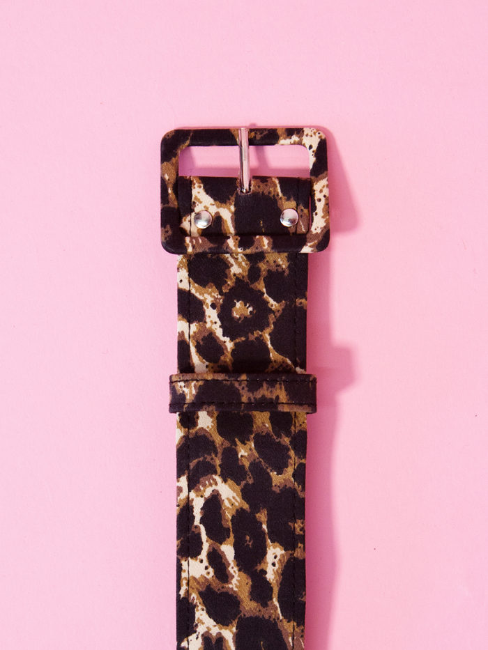One and a half inch belt in leopard print sateen by Vixen Clothing