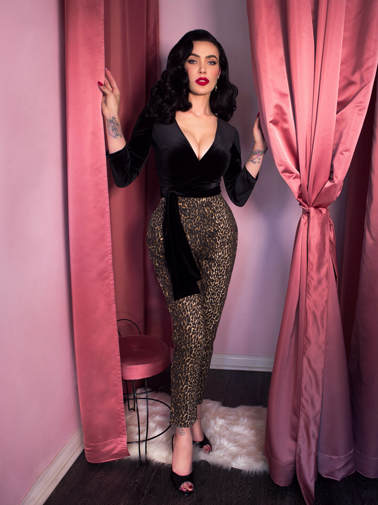 Wrap Top in Black Velvet - Vixen by Micheline Pitt