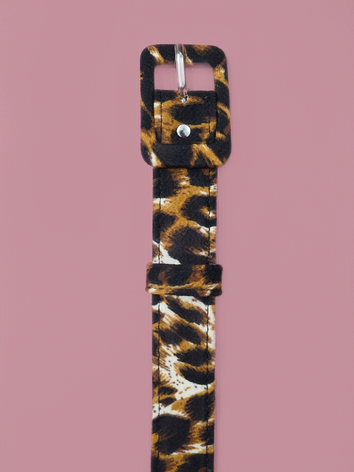 One inch belt in leopard crepe by Vixen Clothing