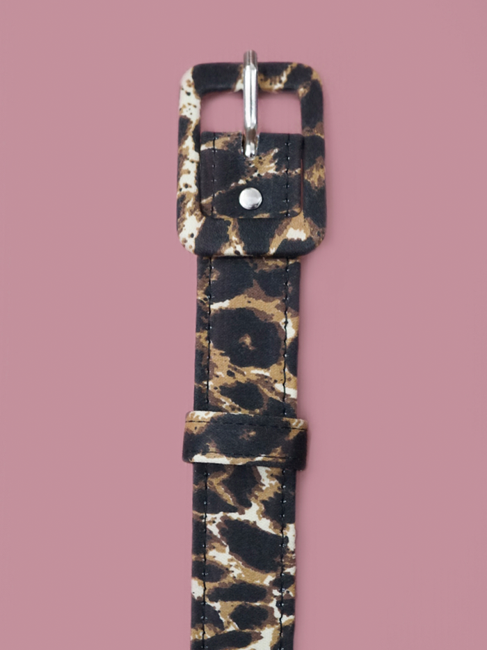 One inch belt in leopard sateen by Vixen Clothing