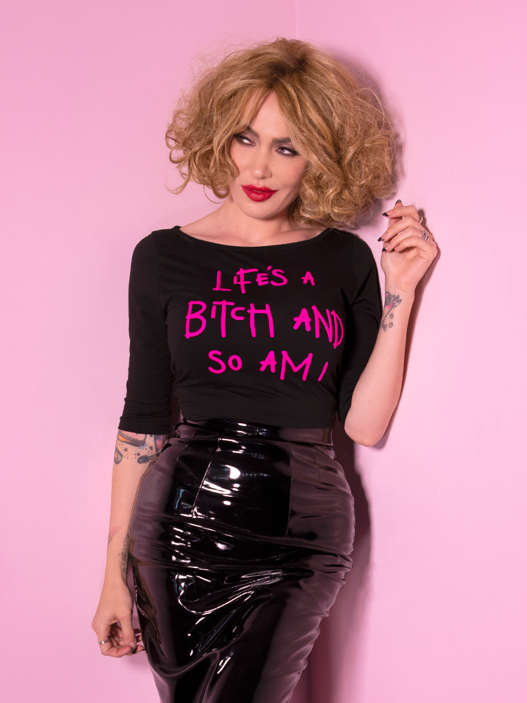 Miss Kitty Life's a Bitch Raglan T-Shirt - Vixen by Micheline Pitt