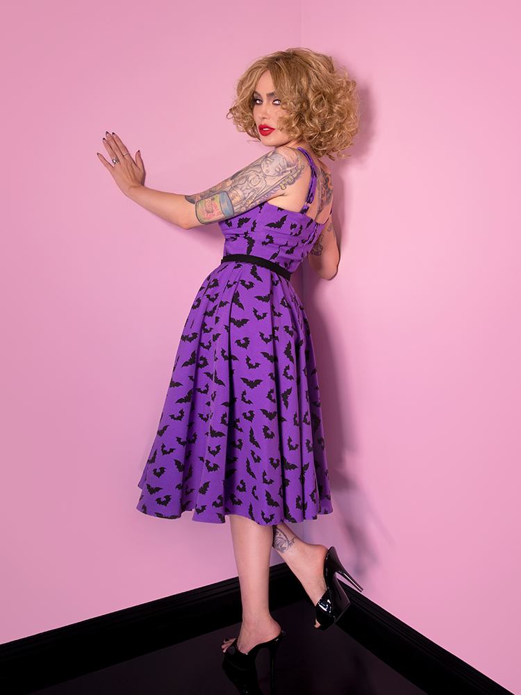 Miss Kitty Maneater Swing Dress in Bat Print - Vixen by Micheline Pitt