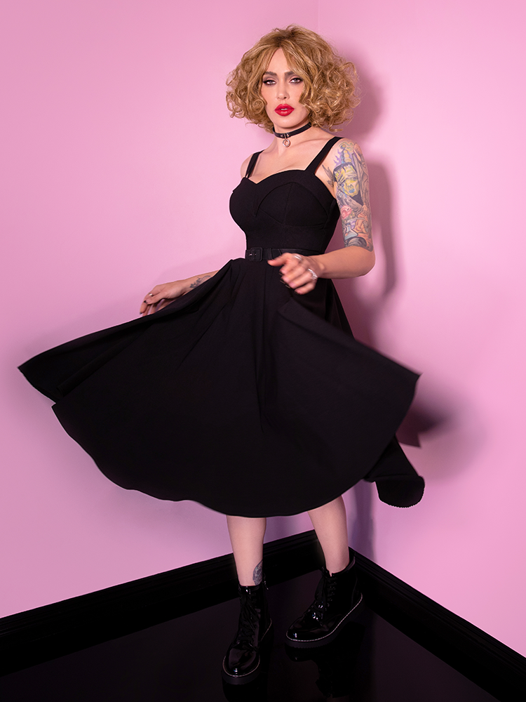 Miss Kitty Maneater Swing Dress in Black - Vixen by Micheline Pitt