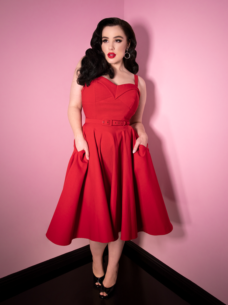 Maneater Swing Dress in Red Bengaline - Vixen by Micheline Pitt